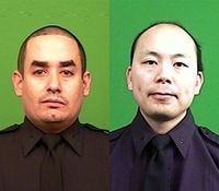 NYC mayor, police boss mark year since 2 officers slain in ambush