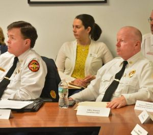 Chelmsford Fire Chief Gary Ryan, Lowell Fire Chief Jeffery Winward and Lawrence General Hospital Director of Ambulance Services Paul Brennan during an opioid discussion hearing on February 21 (Photo/  By Chris Christo/MediaNews Group/Boston Herald)