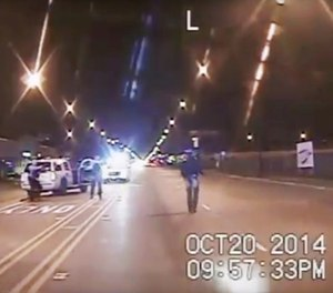 This Oct. 20, 2014 file image is taken from dash-cam video provided by the Chicago Police Department of the Laquan McDonald shooting. (Chicago Police Department via AP, File)