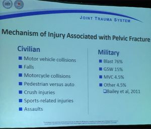 Combat and civilian injury mechanisms can lead to a pelvic fracture. (Photo/Greg Friese)