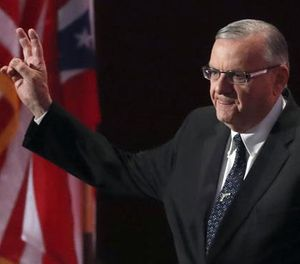 In this July 21, 2016, file photo, Sheriff Joe Arpaio of Arizona walks on the stage to speak during the final day of the Republican National Convention in Cleveland. (AP File Photo/Paul Sancya)