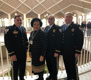 Paramedic Jonathan Wynn, NC EMS Advocacy Liaison Regina Godette-Crawford , EMS Chief,Kevin Underhill  and Assistant EMS Chief Rodney Medlin prepare to advocate for EMS in the North Carolina General Assembly. (Photo/Kevin Underhill)
