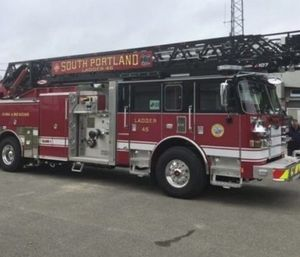 A $1.1-million South Portland fire truck damaged when its ladder accidentally struck a power line has not been determined to be a total loss. (Photo/City of South Portland)