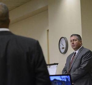 Defense attorney Sam Bregman, right, objects to a question during the trial of two former Albuquerque officers, defendants Keith Sandy, and Dominique Perez, not seen, in court on Tuesday Sept. 20, 2016 in Albuquerque, N.M. (Jim Thompson/The Albuquerque Journal, Pool)