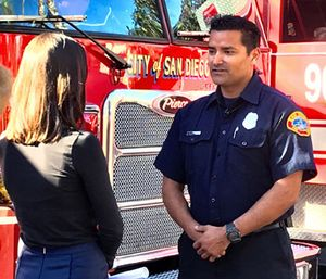 Firefighter Ernie Valdez said he wanted to let the couple know what happened after saving their home from a wildfire, but leaving a mess. (Photo/SDFD)