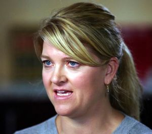 In this Sept. 1, 2017, file photo, nurse Alex Wubbels speaks during an interview after she was dragged in handcuffs by Utah police from a hospital in Salt Lake City. (AP Photo/Rick Bowmer, File)