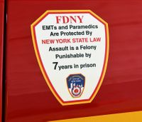 FDNY ambulance decals warn public of EMS assault punishment
