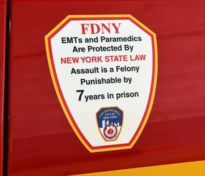 New FDNY ambulance decals will warn the public of the serious prison time those who assault EMS providers could face. (Photo/FDNY)