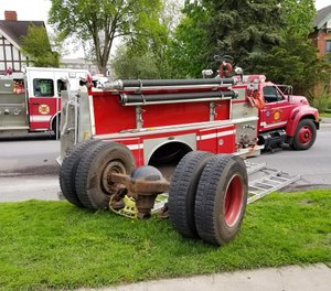The pumper, Chief Farrell said, is the third truck used in city calls and the truck most often used in mutual aid standby calls. (Photo/  Ogdensburg Professional Firefighters Local 1799)