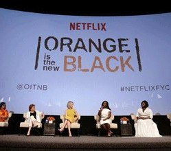 """Show Creator Jenji Kohan, Kate Mulgrew, Taylor Schilling, Uzo Aduba, Danielle Brooks and Laverne Cox seen at Netflix """"Orange is the New Black"""" Television Academy Screening at the Director's Guild of America on Wednesday, May 20, 2015, in Hollywood, CA. (Photo by Eric Charbonneau/Invision for Netflix/AP Images)"""