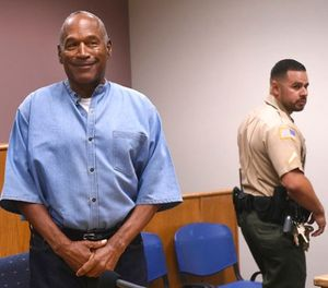 In this July 20, 2017, file photo, former NFL football star O.J. Simpson enters for his parole hearing at the Lovelock Correctional Center in Lovelock, Nev. (Jason Bean/The Reno Gazette-Journal via AP, Pool, File)
