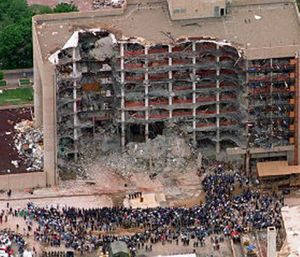 The blast killed 168 people, including 19 children, injured hundreds more and caused hundreds of millions of dollars in damage to structures and vehicles in the downtown area. (AP Photo/Bill Waugh, File)