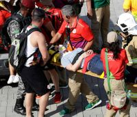 Olympic fans injured outside arena when camera falls