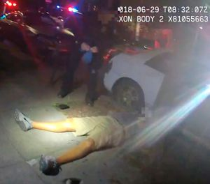 This June 29, 2018, file video image from a police officer's body cam and provided by Portland State University shows Jason Washington after he was shot and killed by Portland State University police officers in Portland, Ore. Grand jury testimony released by a district attorney Tuesday, Oct. 9, into the fatal shooting by university police of a man during a brawl outside a Portland, Oregon, bar describes a chaotic scene in which the two officers had to make a split-second decision when they saw a pistol in the man's hand. (Portland State University via AP, File)