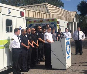 Rural-Metro personnel speak to the press about the Orlando shooting. (Photo Courtesy Rural/Metro of Central Florida)