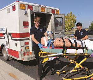 FVCC students practice skills in the college's paramedicine program. (Photo/FVCC)