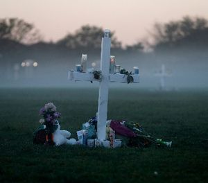 An early morning fog rises where 17 memorial crosses were placed, for the 17 deceased students and faculty from the Wednesday shooting at Marjory Stoneman Douglas High School, in Parkland, Fla., Saturday, Feb. 17, 2018. (AP Photo/Gerald Herbert)