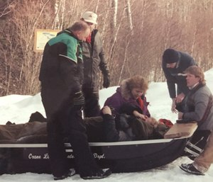 Kalie Klaysmat treating a patient with a fractured femur. (Courtesy photo)