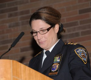 NYPD Chief Joanne Jaffe  addresses attendees at the 2009 NYPD Women's History Celebration. (Photo/NYPD)