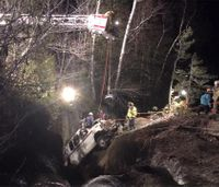 Firefighters save man after crash off cliff, into river