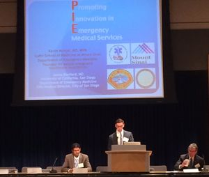 Noah Smith, NHTSA, addresses the Promoting Innovation in EMS steering committee. (Photo by Michael Gerber)