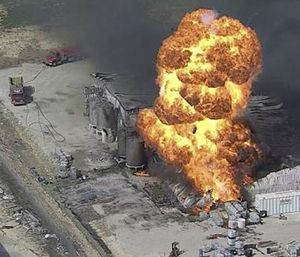 In this image from video by KDFW, a fire burns at the Tri-Chem Industries plan in Cresson, Texas. (KDFW via AP)