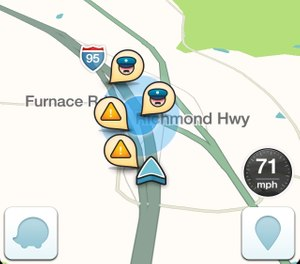 This image taken from the the Waze app on an iPhone, in Washington, shows police at the scene on a map on the app. (AP Photo/Ted Bridis)
