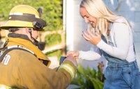 Firefighter fakes blaze at own house in surprise marriage proposal
