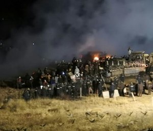 Law enforcement and protesters clash near the site of the Dakota Access pipeline on Sunday in Cannon Ball, N.D. (Morton County Sheriff's Department via AP)