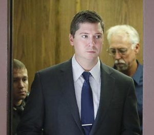 Ray Tensing arrives at court on the fourth day of jury deliberations in his murder trial, Saturday, Nov. 12, 2016, in Cincinnati. (AP Photo/John Minchillo)