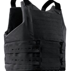 Rather than using wide Velcro straps, the Quicklock system is based on two strips of high impact polymer which slip vertically through the carrier's front MOLLE slots. (Angel Armor Image)