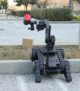 Robots are a great, safe option for delivering chemical agents or distraction devices. (Image Robotex)