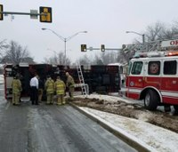 Okla. fire truck rolls over on icy road en route to false call