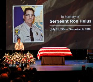 Sgt. Helus was one of twelve victims of the Borderline Bar & Grill mass shooting in Thousand Oaks last week. (Al Seib /Los Angeles Times via AP, Pool)