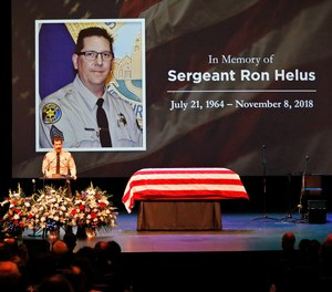 Ventura County Sheriff Biull Ayub addressing the crowd attending the memorial service for Ventura County Sheriff Sgt. Ron Helus at Calvary Community Church in Westlake Village, Calif., Thursday, Nov. 15, 2018. Sgt. Helus was one of twelve victims of the Borderline Bar & Grill mass shooting in Thousand Oaks last week. (Al Seib /Los Angeles Times via AP, Pool)