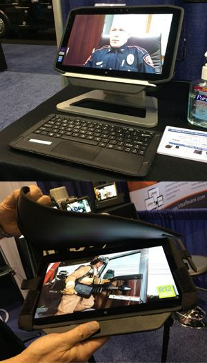 The R12 comes with a desktop docking station and an ultra-thin wireless magnetic keyboard with a kickstand for an easy transition from tablet to desktop computer. (PoliceOne Photo)