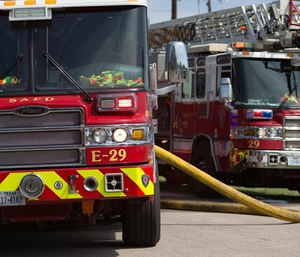 A video of a joyride in a fire truck posted on social media resulted in a 10-day suspension for a San Antonio firefighter. (Photo/SAFD)