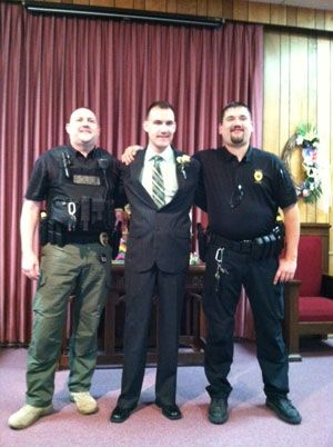 (From left to right) Sgt. Aaron Rudy, Chief Adam Sayler, and  Officer Charles Brown. (Photo courtesy St. John Police)