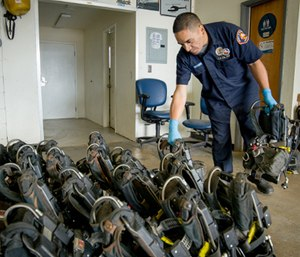 Regular and thorough inspection is critical to SCBA performance. (Photo/Los Angeles County Fire Department)