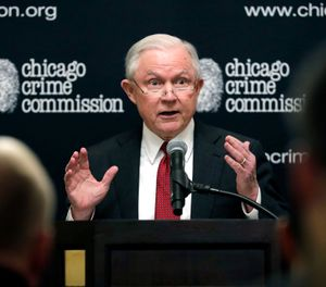 Attorney General Jeff Sessions speaks to the Chicago Crime Commission at Union League Club of Chicago, Friday, Oct. 19, 2018, in Chicago. (AP Photo/Nam Y. Huh)