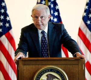 Attorney General Jeff Sessions speaks to law enforcement officials about transnational organized crime and gang violence at the Federal Courthouse Thursday, Sept. 21, 2017, in Boston. (AP Photo/Stephan Savoia)