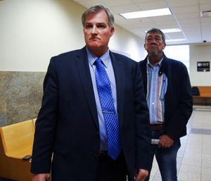 Former Tulsa officer Shannon Kepler walks out of the courtroom as the jury leaves to deliberate on his fourth court case. (Photo/AP)
