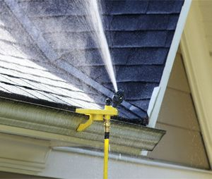 One of the smartest ways to help protect your home is to keep the roof and surrounding area wet. (Photo courtesy WASPwildfire.com)