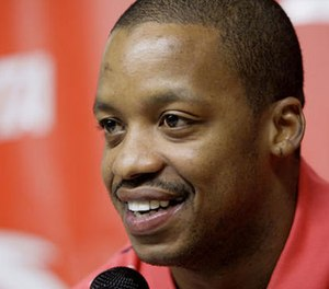 In this Oct. 17, 2007, file photo, Houston Rockets' Steve Francis smiles during a news conference announcing an endorsement deal with ANTA Sports Products Limited, a company based in China, in Houston. (AP Photo/David J. Phillip, File)