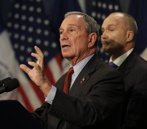 New York City Mayor Michael Bloomberg, left, speaks while Police Commissioner Ray Kelly looks on during a news conference in New York, Monday, Aug. 12, 2013. (AP Photo/Seth Wenig)