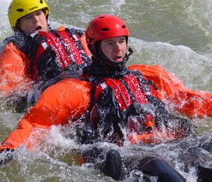 There are a number of safety threats in a swift water rescue beyond drowning. (Photo/RiverSportOKC.org)