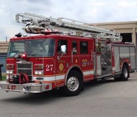Fire dept. removes blue stripe stickers from fire trucks
