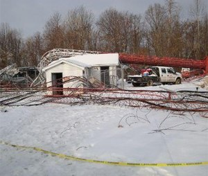 The site of the collapsed cell phone towers. (Photo courtesy NIOSH)