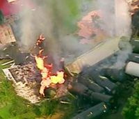 Many overnight in hotels after train derailment; fire dying off