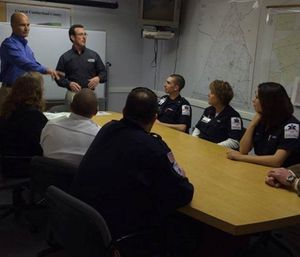 Steve Wirth and Doug Wolfberg lead a training program for a group of engaged EMS providers. (Photo by Page, Wolfberg and Wirth)